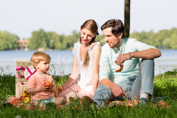 Family having picnic at lake sitting on meadow Stock photo © Kzenon