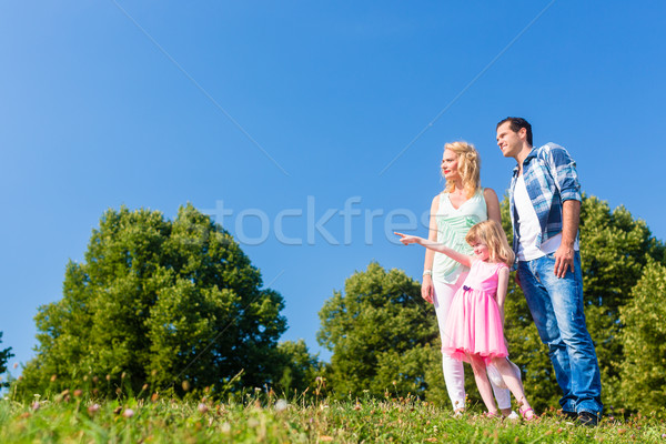 Young family on field, Dad pointing at something Stock photo © Kzenon