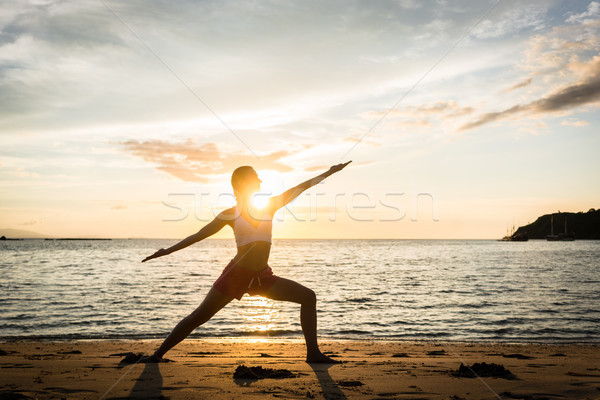 Silhouette of a fit woman practicing the warrior yoga pose again Stock photo © Kzenon