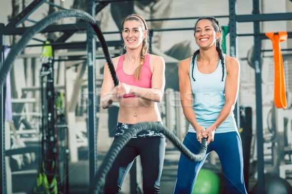 Dwa piękna silne kobiet bitwa Zdjęcia stock © Kzenon