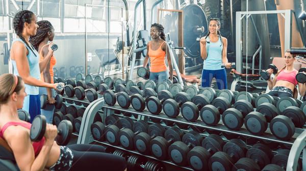 Fuerte hermosa mujeres pesas armas Foto stock © Kzenon