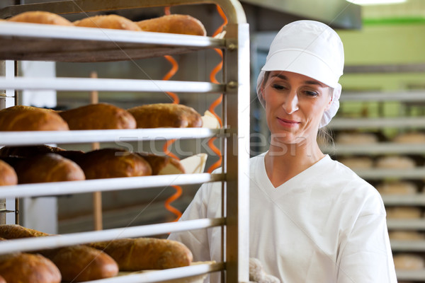 Female baker baking bread Stock photo © Kzenon