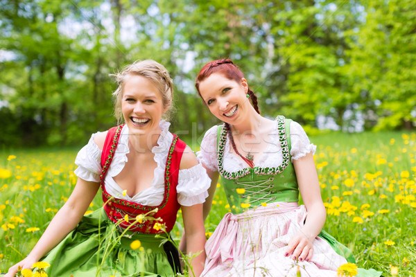 Women in traditional Bavarian clothes or dirndl on a meadow  Stock photo © Kzenon