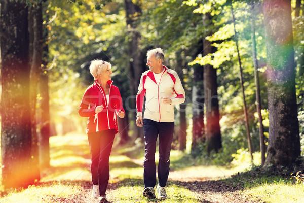 Seniors jogging on a forest road Stock photo © Kzenon