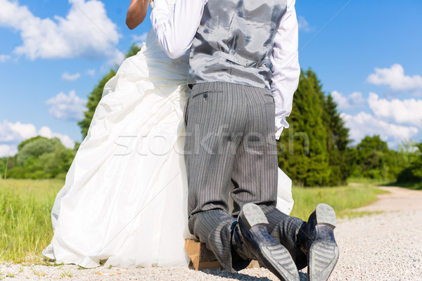 Groom begging bride for mercy after bridal kidnapping  Stock photo © Kzenon