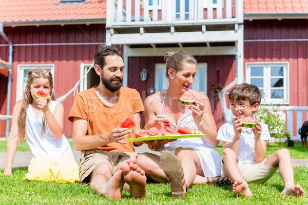 семьи сидят трава домой еды Сток-фото © Kzenon