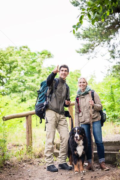 Excursionistas perro forestales jóvenes caminante Pareja Foto stock © Kzenon