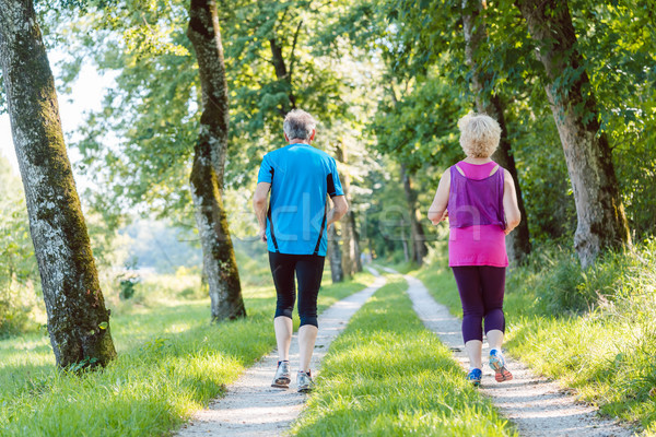 Full length rear view of a senior couple jogging together outdoo Stock photo © Kzenon