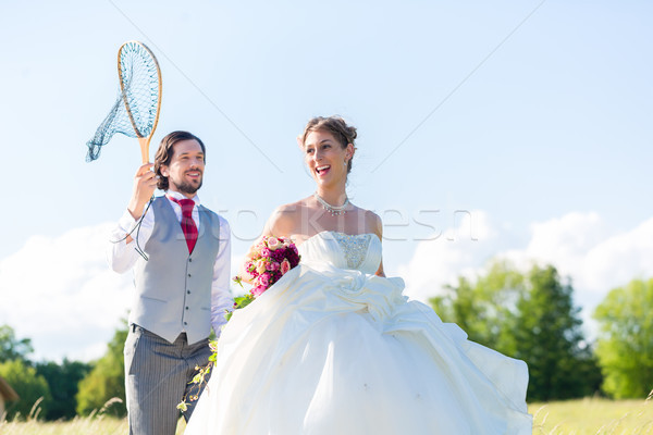 Casamento noivo noiva com feliz mulher Foto stock © Kzenon