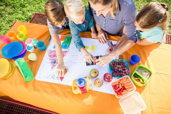 女子学生 絵画 昼休み 果物 サンドイッチ 家族 ストックフォト © Kzenon