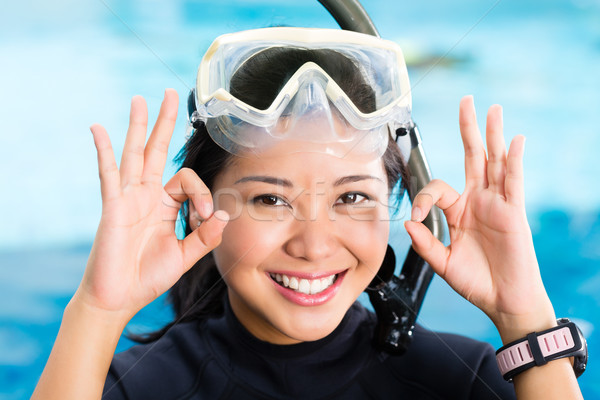 young indonesian diver says ok Stock photo © Kzenon