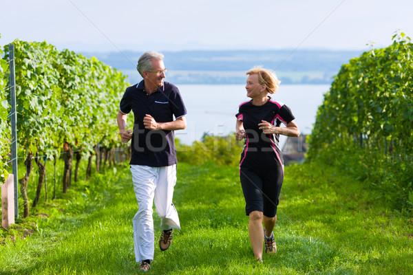 Idős pár jogging sport érett kint lefelé Stock fotó © Kzenon