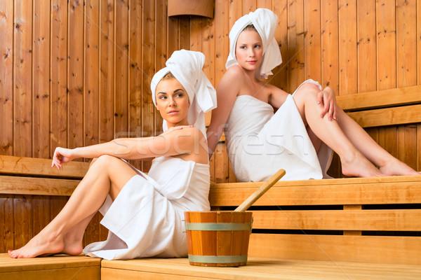 Stok fotoğraf: Iki · kadın · sağlıklı · yaşam · spa · sauna · demleme
