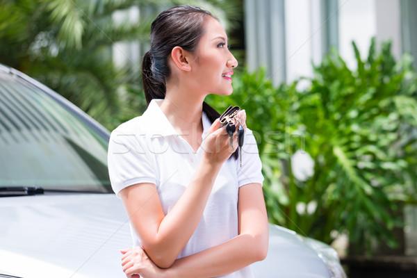 Asian woman showing key of new car Stock photo © Kzenon