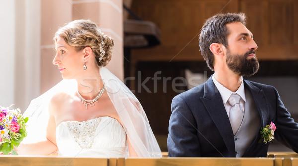 Bride and groom separating Stock photo © Kzenon
