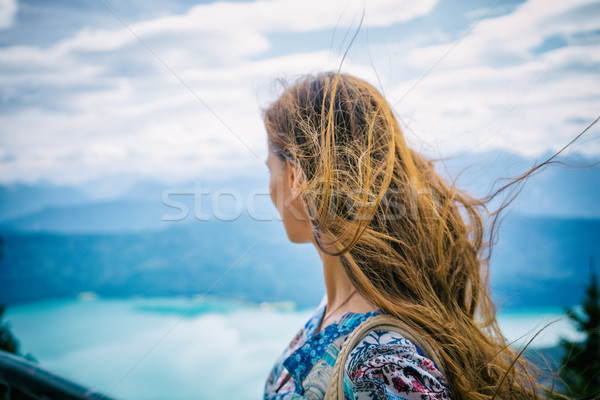 Woman in alp mountains looking at Walchensee Stock photo © Kzenon