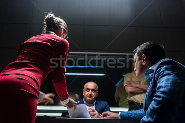 Attorney in disagreement with the prosecutor during the hearing  Stock photo © Kzenon