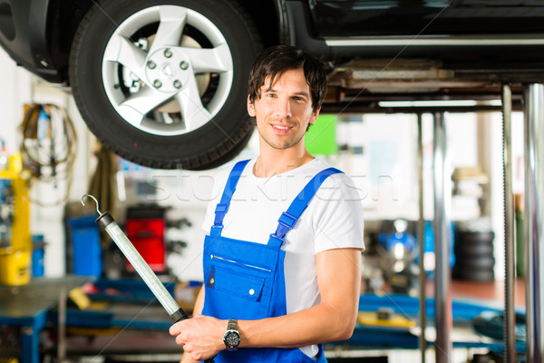 Young mechanic in blue overall working on car Stock photo © Kzenon
