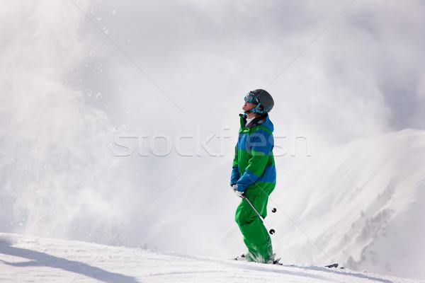 Esquiador neve alpes próximo inverno Foto stock © Kzenon