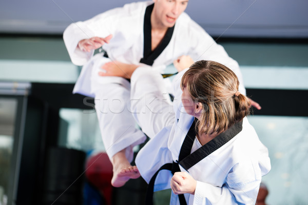 Stock photo: Martial Arts sport training in gym