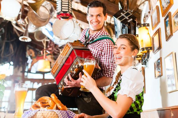музыканта ресторан играет аккордеон человека фольклор Сток-фото © Kzenon