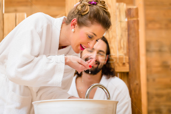 Couple at wellness spa enjoying romantic trip Stock photo © Kzenon