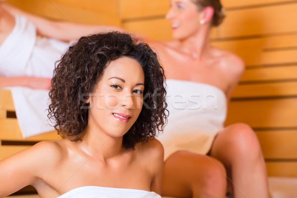 Stok fotoğraf: Kadın · sağlıklı · yaşam · demleme · sauna · spa