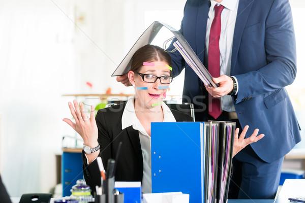 絶望的な アシスタント オフィス 顔 付箋 ストックフォト © Kzenon