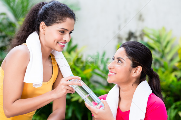 Cheerful woman giving a bottle of plain water to her friend Stock photo © Kzenon