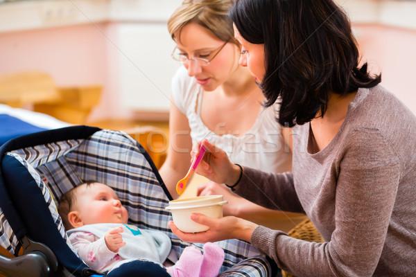 Mother feeding baby at midwife practice Stock photo © Kzenon