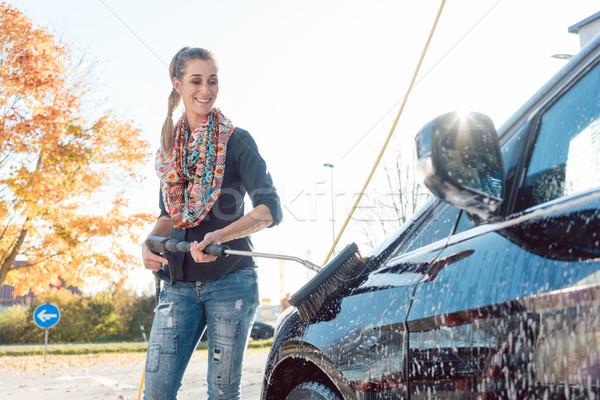 女性 洗浄 車両 洗車 水 車 ストックフォト © Kzenon