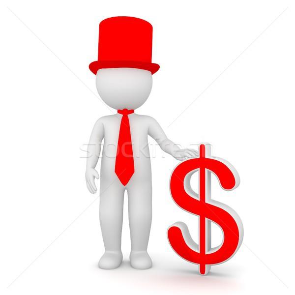 3D adam dolar işareti zarif Stok fotoğraf © Kzenon