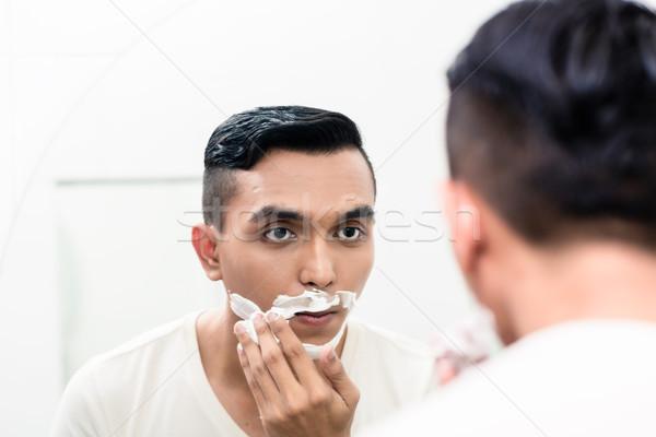 Mann Schaum Gesicht Bad Stock foto © Kzenon