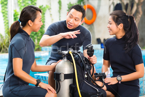 People in a diving school Stock photo © Kzenon