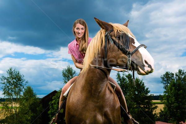 Young woman riding the horses on the meadow Stock photo © Kzenon