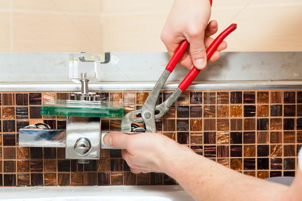 Tesisatçı mikser dokunun banyo eller Stok fotoğraf © Kzenon