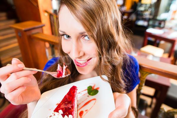 Сток-фото: еды · кафе · хлебобулочные · женщину