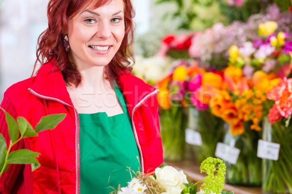 Foto stock: Florista · flor · tienda · femenino