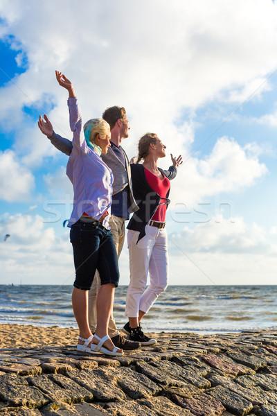 Friends enjoying sunset at beach Stock photo © Kzenon