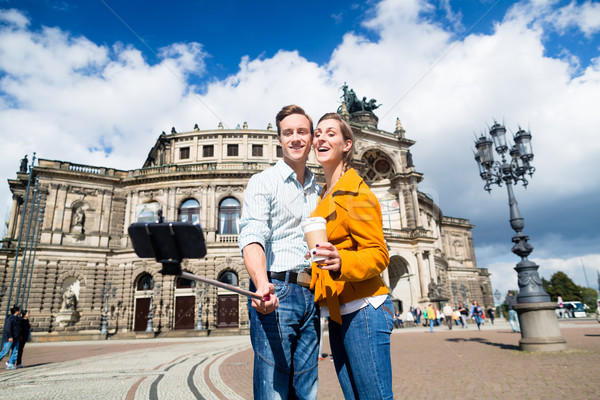 Couple taking selfie at Semperoper in Dresden Stock photo © Kzenon