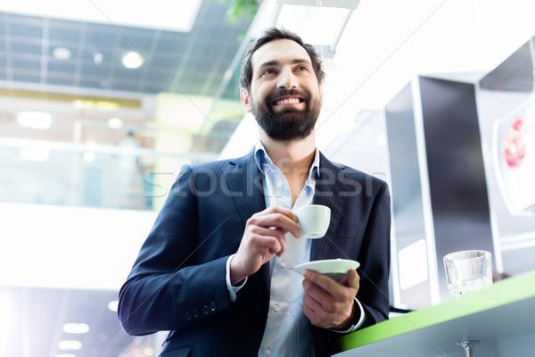 Homme espresso café café bar Photo stock © Kzenon