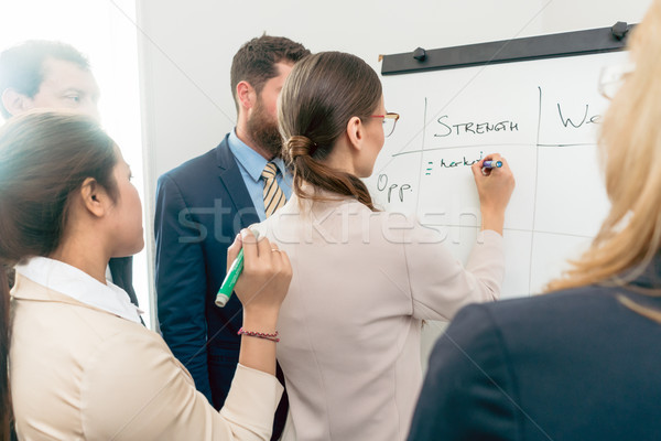 Female executive director writing on a paper board the positive  Stock photo © Kzenon