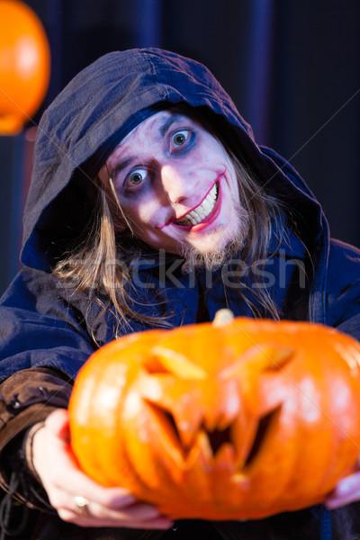 Człowiek scary halloween kostium dynia Zdjęcia stock © Kzenon