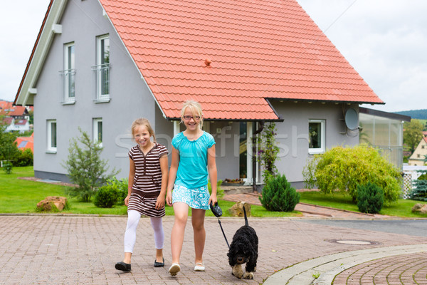 Two girl or children walking with dog Stock photo © Kzenon