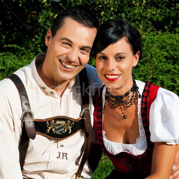 Paar traditionellen Kleid Sommer Mann Frau Stock foto © Kzenon