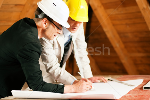 Architect and construction engineer discussing plan Stock photo © Kzenon