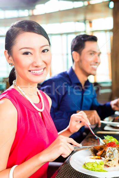 ázsiai emberek fine dining étterem vacsora iszik Stock fotó © Kzenon