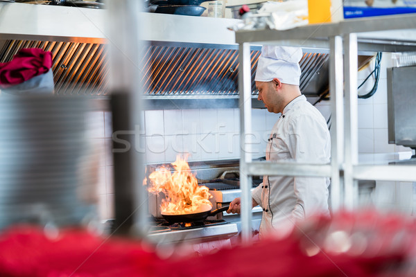 Chef or cook in hotel kitchen cooking dishes Stock photo © Kzenon