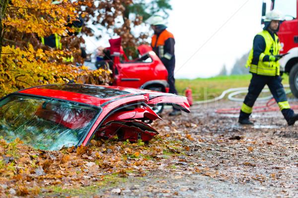 Kaza yangın kurban araba kapı kaygan Stok fotoğraf © Kzenon