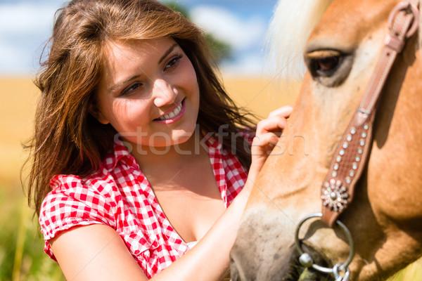 女性 馬 ポニー ファーム 楽しい 小さな ストックフォト © Kzenon